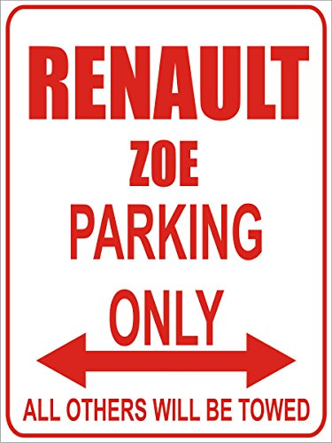 INDIGOS - Parkplatz - Parking Only- Weiß-Rot - 32x24 cm - Alu Dibond - Parking Only - Parkplatzschild - Renault zoe