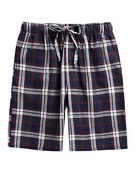 TINFL Men s Plaid Check Cotton Lounge Sleep Shorts MSP-SB007-Navy XL