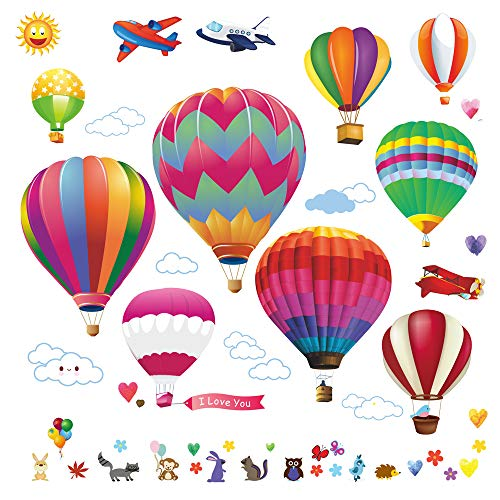 lesonic Hot Air Balloons Wall Decals Stickers: Pre-Cut Decorative Vinyl Peel & Stick Wall Art Mural for Children's Bedroom, Baby Nursery & Playroom,Hot Air Balloon Decals for Walls