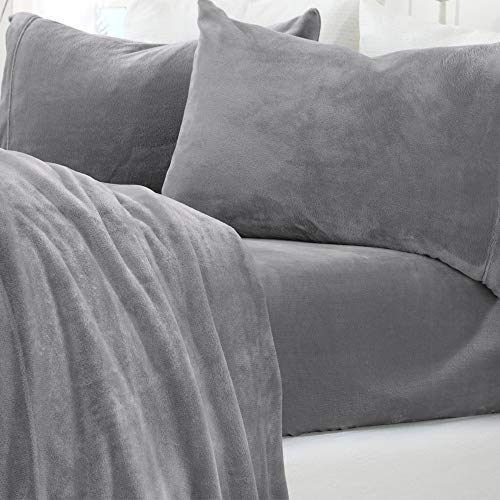 Micro Fleece Extra Soft Cozy Velvet Plush Sheet Set. Deluxe Bed Sheets with Deep Pockets. Velvet Luxe Collection (Twin, Grey)