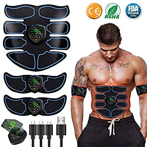 Abs Stimulator Abdominal Muscle,EMS ABS Trainer Body Toning Fitness, USB Rechargeable Toning Belt ABS Fit Weight Muscle Toner Workout Machine for Men & Women