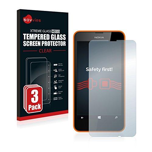 Savvies Panzerglas kompatibel mit Nokia Lumia 630 Dual SIM (3 Stück) - Echt-Glas, 9H Festigkeit, Anti-Fingerprint