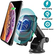 Ideasonics Wireless Car Charger Mount, Automatic Clamping 10W Qi Fast Charging Car Phone Holder Air Vent&Dashboard Compatible with iPhone Xs Max/Xs/XR/X/8/8 Plus, Samsung S10/S9/S8/Note 9