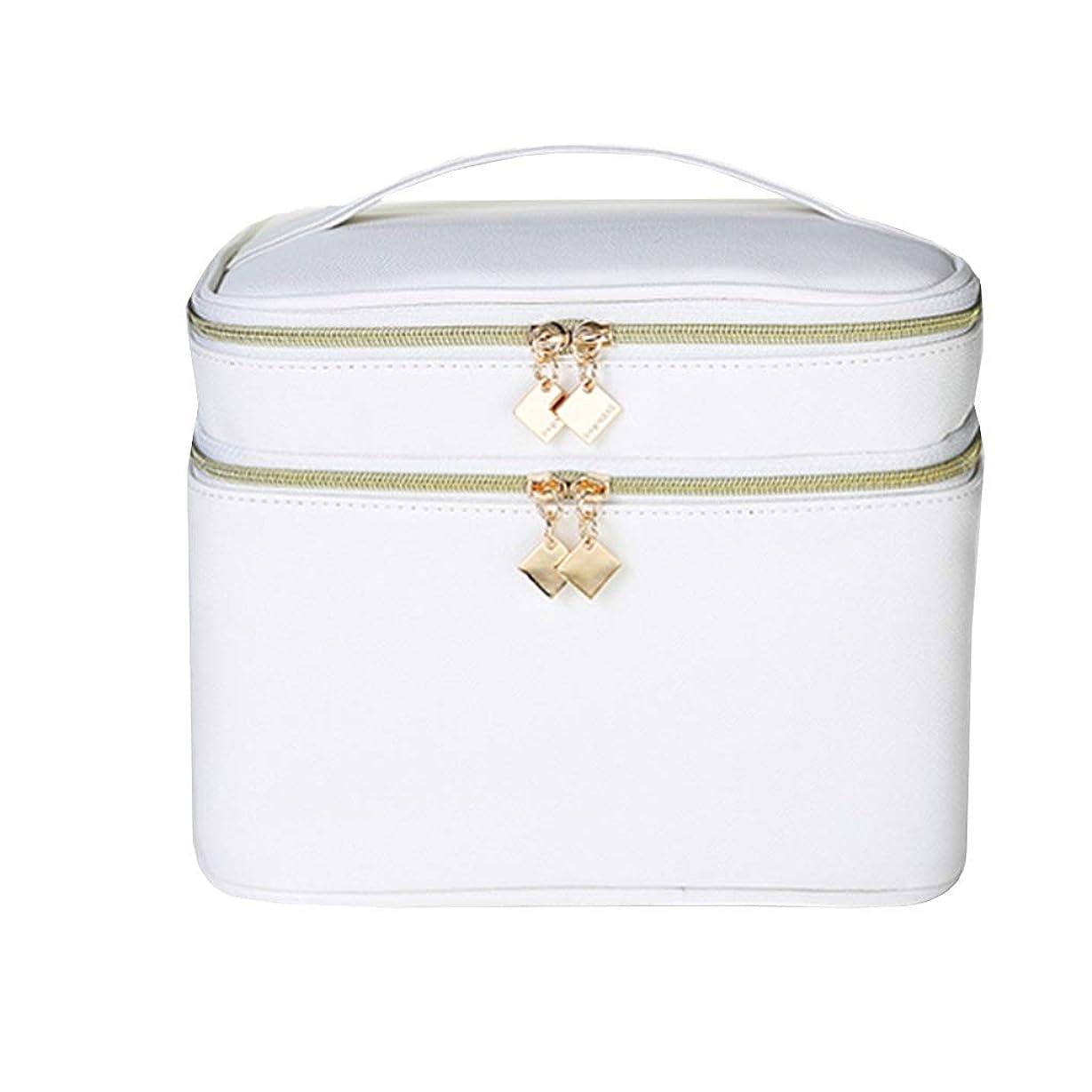 アライメント優れましたねばねば多機能化粧品袋、内蔵ハイビジョン化粧鏡ポータブル防水汚れに強いリムーバブル洗えるダブルレイヤーの分離 (Color : 白い, Size : 21x15x15.5cm)