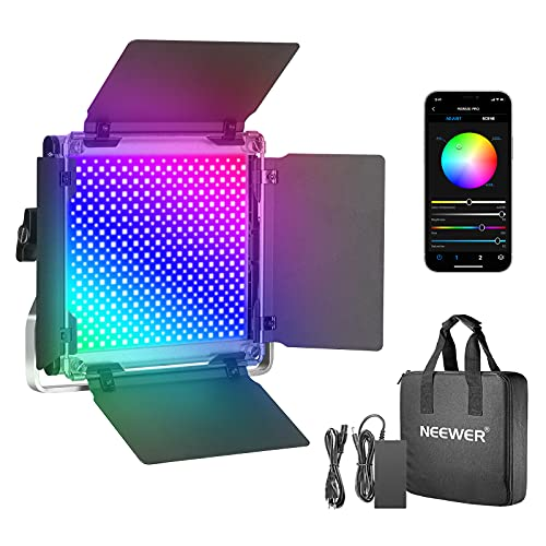 Neewer 530PRO RGB Luz de Video LED con Control de Aplicación 360 °a Todo Color Iluminación de Video de 45 W CRI 97+ con Soporte Barndoor/U para Juegos Youtube Conferencia en Internet Fotografía