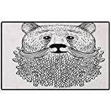 Indie Entryway Rug 24x16 Doodle Style Sketch Bear Portrait with Curly Beard and Mustache Cute Cool Animal Door Mat Rubber Backing Non Slip Door Mats