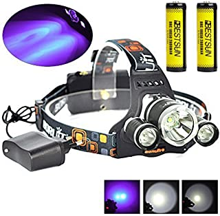 BESTSUN Tactical Blacklight Headlamp UV-Ultraviolet LED (1x Cree T6 White LED and 2 x UV LEDs) 4 Modes 395-410nm 18650 Rechargeable Leak detector and Cat-Dog-Pet Urine Detector (with Chager & Battery)