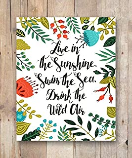 Barnett Duncan Canvas Women Gift Live in The Sunshine Swim The sea Drink The Wild air Quote Ralph Waldo Emerson Inspirational Wall Art Quote