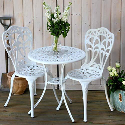 Lazy Susan | Tulip Round 2 Seater Bistro Set | Sand-cast Aluminium Garden Furniture Set | Weatherproof | Maintenance-free | Matching Bistro Chairs | Classic White Finish