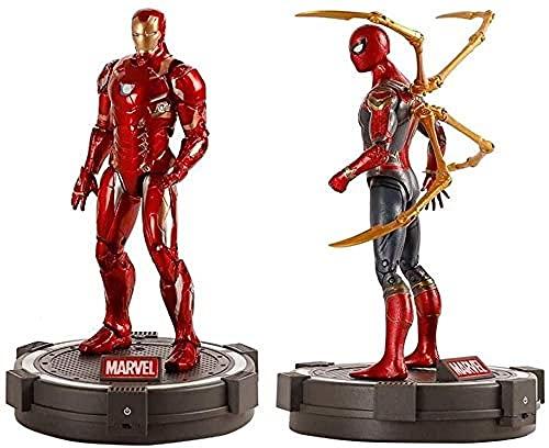 YSDHE Iron Man-Spider-Man Model Toy Set - con Base Brillante Avengers 3 Figura de acción Set - 8 Pulgadas Infinity War Figura Colección de Regalo de cumpleaños para niños