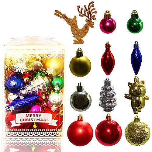 JJW Bolas de decoración de árboles de Navidad, colgantes de Navidad de colores en caja, 30 colgantes de adornos de Navidad para la decoración de tiendas de bodas navideñas (#1)