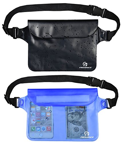 Freegrace Premium Waterproof Pouch Set with Waist/Shoulder Strap - Best Way to Keep Your Phone and Valuables Dry and Safe - Perfect for Boating Swimming Snorkeling Kayaking (Black + Blue)