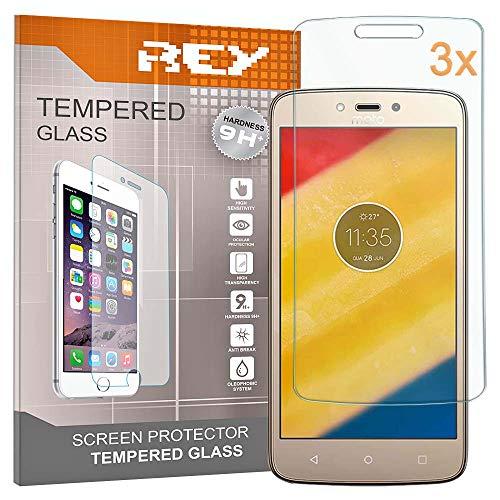 REY 3X Protector de Pantalla para Motorola Moto C, Cristal Vidrio Templado Premium