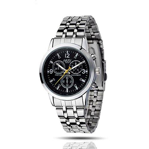 IEason,Luxury Waterproof Stainless Steel Quartz Women Wrist Watch Jewelry (Black)