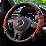 Lifetooler Cubiertas de Volante de Coche Ice Silk Universal 38cm(15') Cubierta de Rueda Antideslizante Transpirable para Auto Furgoneta SUV (naranja)
