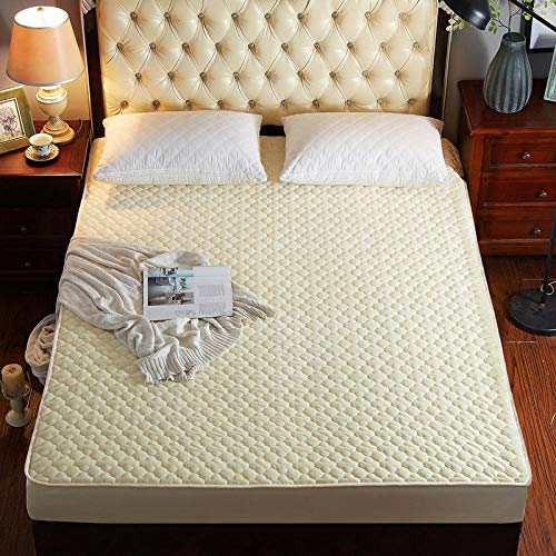 LCFCYY Waterproof Mattress Protector, Anti mite, Antibacterial,Mattress Topper,Thick quilted crystal velvet fitted sheets, bedroom hotel Homestay Pure color mattress protector yellow 150 * 200cm