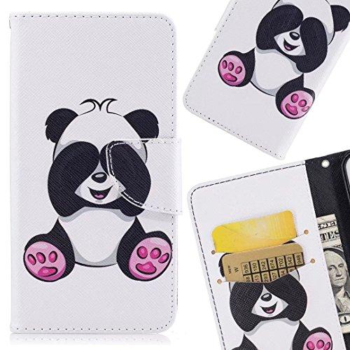 LEMORRY pour Huawei P20 Lite Etui Cuir Peint Flip Portefeuille Pochette Mince Protecteur Magnétique Fente Carte Silicone TPU Housse Cover Coque pour Huawei P20 Lite/Nova 3e, Panda Mignon