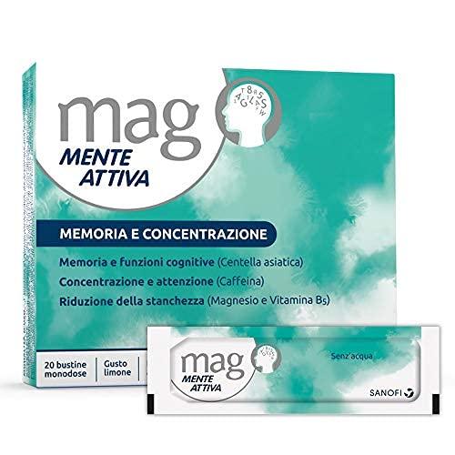 Mag Mente Attiva Integratore Alimentare per Riattivare Memoria e Concentrazione, a Base di Magnesio, Fosfoserina, Centella Asiatica, Vitamina B5 e Caffeina, 20 Bustine