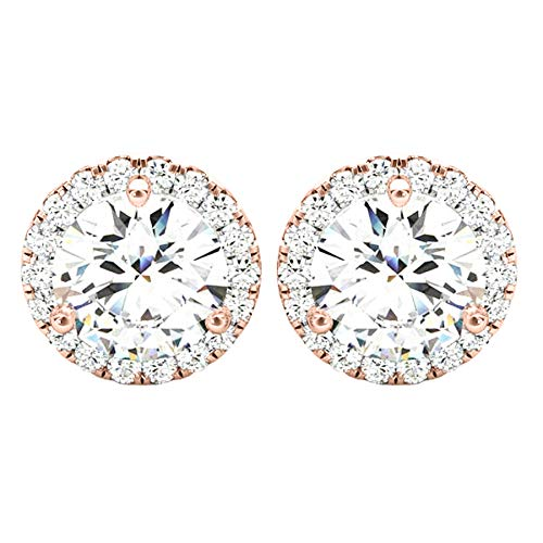 1 Carat (ctw) Round Halo Diamond Earrings Value Collection 14K Rose Gold - 1.00