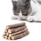 10 Palitos De Hierba Gatera, Orgánicos Naturales Matatabi Silvervine Sticks para Gatos Natural Cuidado Dental Chew Catnip Sticks, Dental Treats Dientes Grinding Chew Toys