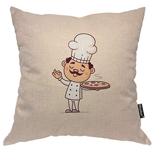 Funda de almohada de chef de 40,6 x 40,6 cm, para cocina o pizza caliente, sombrero de comida rápida, para hombre italiano, funda de almohada para el hogar, coche, decoración de lino de algodón