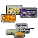Food Storage 8 Piece Set Lunch Box Salad Plastic Container Rectangular