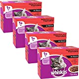 Whiskas - Alimento humedo para gatos, en salsa (Pollo, Carne De Res, Cordero, Aves De Corral), 48 paquetes x 100g