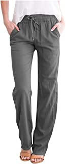 LATINDAY Women`s Tapered Pants 100% Linen Drawstring Back Elastic Waist Pants Trousers with Pockets