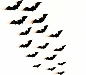 128PCS/4SIZE 3D Bats Sticker, Halloween Party Supplies Reusable Decorative Scary Wall Decal for Home Decor DIY Wall Decal Bathroom Indoor