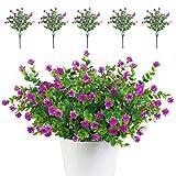 TSHAOUN 5 piezas Flores Artificiales Flor Falsas,Arbustos Verdes Resistentes a Los Rayos UV Plantas para Colgar en Interiores y Exteriores,para Casa Jardín Ventana Fiesta Boda Decoración (Fucsia)