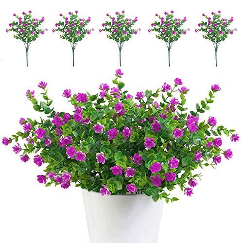 TSHAOUN 5 piezas Flores Artificiales Flor Falsas,Arbustos Verdes Resistentes a Los Rayos...
