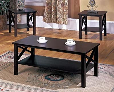 King's Brand 3 Piece Wood X Style Casual Coffee Table & 2 End Tables Occasional Set, Cherry Finish