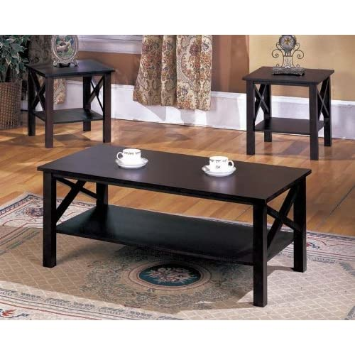 Superieur 3 Pc. Kings Brand Cherry Finish Wood X Style Casual Coffee Table U0026 2 End