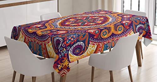 ABAKUHAUS Paisley Tischdecke, Arabischer Blumen Teppich, Für den Inn und Outdoor Bereich geeignet Waschbar Druck Klar Kein Verblassen, 140 x 240 cm, Mehrfarbig