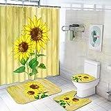 Tamoc Duschvorhang-Set mit rutschfestem Teppich, WC-Deckelbezug & Badematte, Sonnenblumen-Ölgemälde, Duschvorhang mit 12 Haken, bunt, wasserdichter Stoff, Badezimmer-Duschvorhang