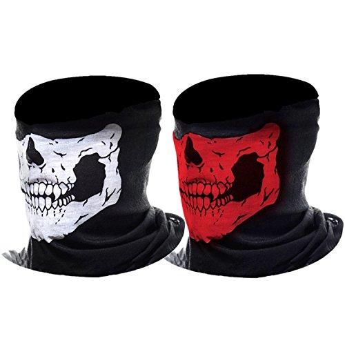 eBoot Máscara de Calavera Mascarilla Fantasma de Medio Cráneo de Motocicleta,  2 Piezas