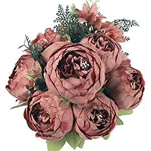 JyiHope Artificial Peony Silk Flowers Fake Peonies Vintage Bouquet Home Table Centerpieces Wedding Decoration (Spring Bean Brown)