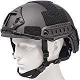 Airsoft MH Helmet Adjustable Fast Base Jump Helmet ABS Military Tactical Helmet for Paintball Wargame (Black)