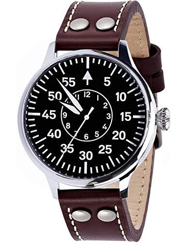 HAMAYOTA 腕時計 メンズ 自動巻き軍用時計 日本製ムーブメント パイロットウォッチ (ブラック)