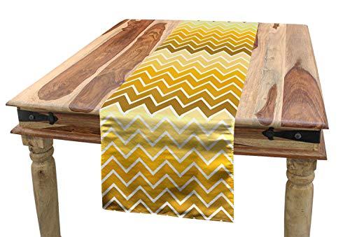 ABAKUHAUS Gelb Tischläufer, Chevron Zickzack Ombre, Esszimmer Küche Rechteckiger Dekorativer Tischläufer, 40 x 300 cm, Hellgelb Gelb
