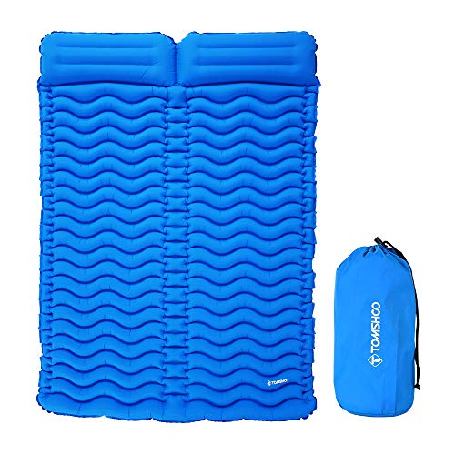 TOMSHOO Camping Mat Outdoor With Pillow Ultra-light Portable 2 Person Mattress Inflatable Mat Double Sleeping Pad Moisture-proof Pad