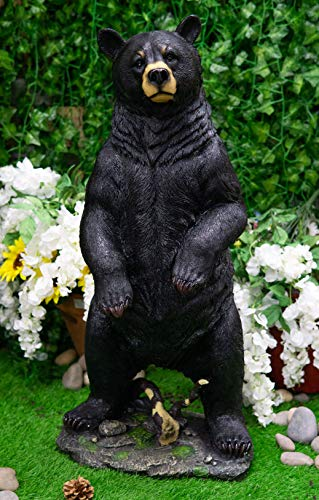 """Ebros Large 31"""" Tall Realistic Rustic Forest Standing Black Bear Statue Wildlife Animal Bears Western Cabin Lodge Country Decor Figurine As Covered Patio and Home Accent Centerpiece"""