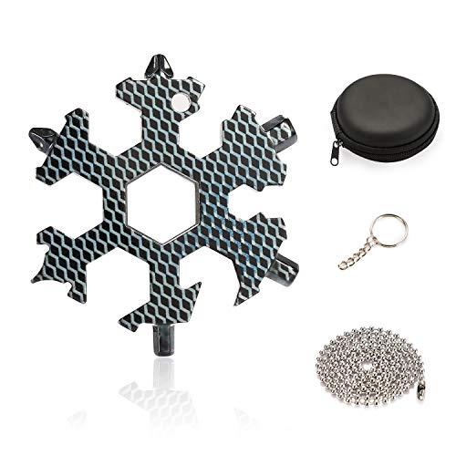 KATELUO 18-in-1 Edelstahl Schneeflocken Multi-tool,Karte Schlüsselanhänger Flaschenöffner Ringschlüssel Sechskantschlüssel für Outdoor EDC (Kohlenstoffmuster)