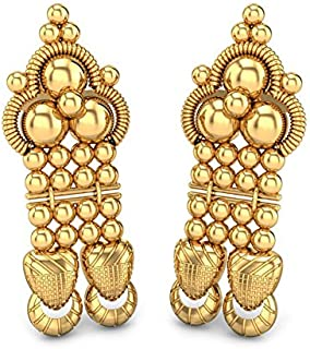 Candere By Kalyan Jewellers 18KT Yellow Gold Jhumki Earrings for Women