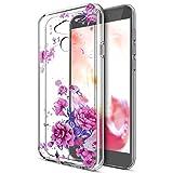 Kompatibel mit Huawei Honor 6A Hülle,Huawei Honor 6A Schutzhülle,Bunte Gemalte Mandala Blumen Transparent TPU Silikon Handyhülle Tasche Silikon Durchsichtig Schutzhülle,Lavendel Pfingstrose Blumen