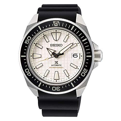 Seiko Reloj Prospex Automatico Caballero SRPE37K1'King Samurai' Caucho Negro con Caratula Blanca, estandar