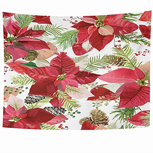 N\A Wall Hanging Tapestries Christmas Winter Style Vintage Pine Poinsettia Xmas Flowers Happy Textures Holidays Congratulation Tapestry Wall Blanket Home Decor Living Room Bedroom Dorm