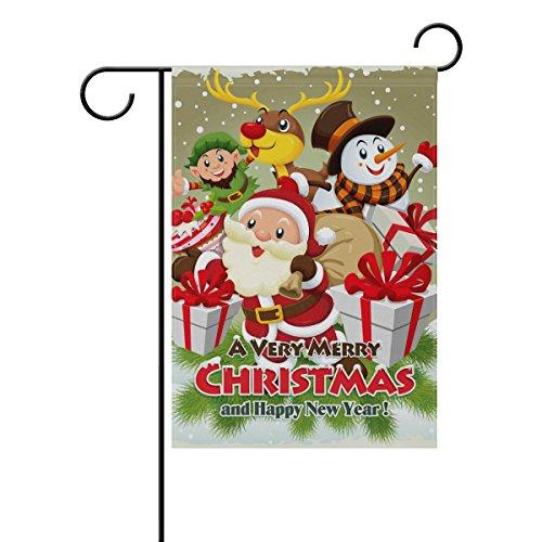 coosun Noël Poster Design avec Père Noël Polyester Drapeau Jardin dans le jardin libre drapeau Home Party Décor, double face, 12 x 18