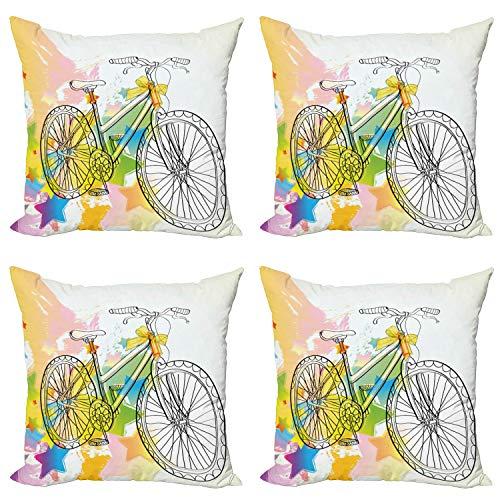 ABAKUHAUS Incompleto Set de 4 Fundas para Cojín, Abtract Coloridos de la Bici, Estampado Digital en Ambos Lados y Cremallera, 50 cm x 50 cm, Multicolor