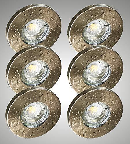 Trango Lot de 6 Spot LED encastrable IP44 pour salle de bain en acier inoxydable brossé TG6729IP-062GUCOBSD avec 6 ampoules LED dimmables douche encastrée spot extérieur pour plafond spot pour plafond